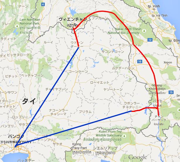 ラオス旅行の行程図